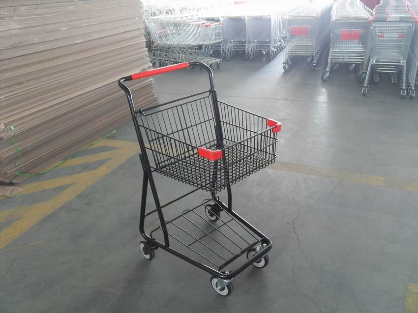40L Folding Grocery Shopping Trolley , Singel Basket Supermarket Shopping Carts