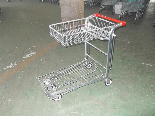 Warehouse cargo plat form trolley with top folding basket and 4 swivel flat casters