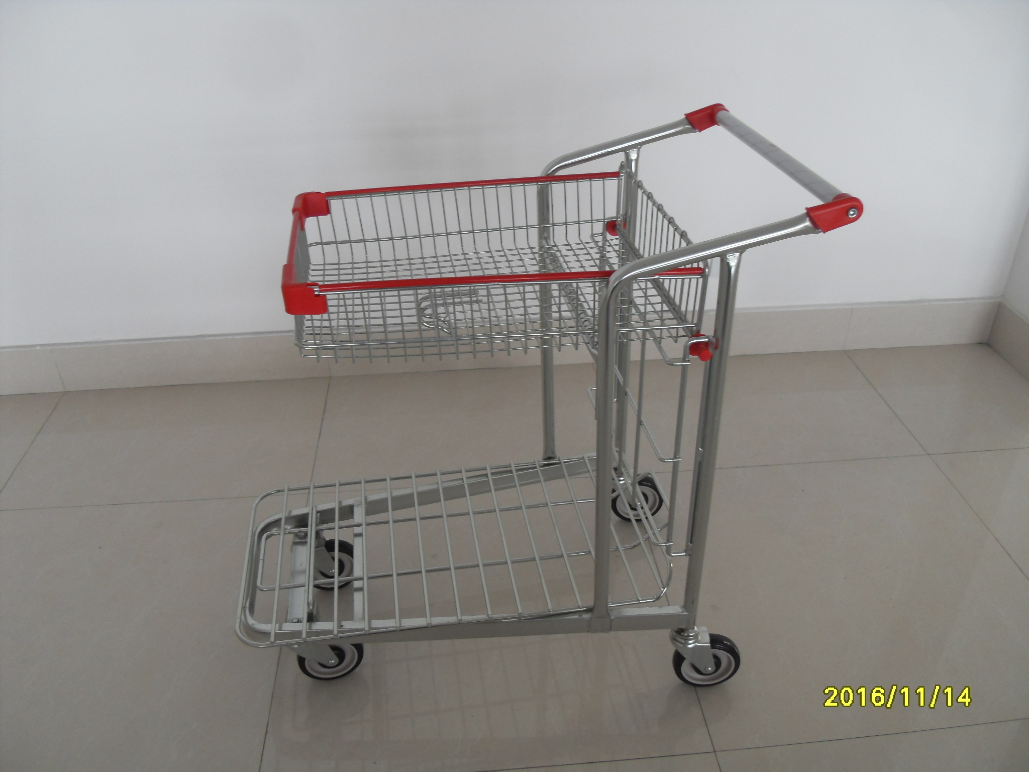 Steel Tube Material Warehouse Trolley With Handle Logo Printing And 4 Swivel Flat 5 Inch TAPE Casters